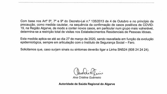 Comunicado ARS Algarve: COVID-19