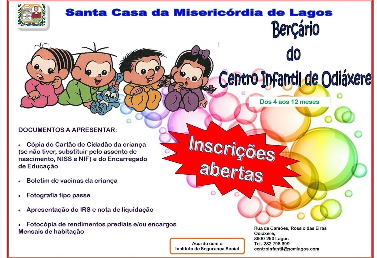 Estão abertas as inscrições para o Berçário do Centro Infantil de Odiáxere
