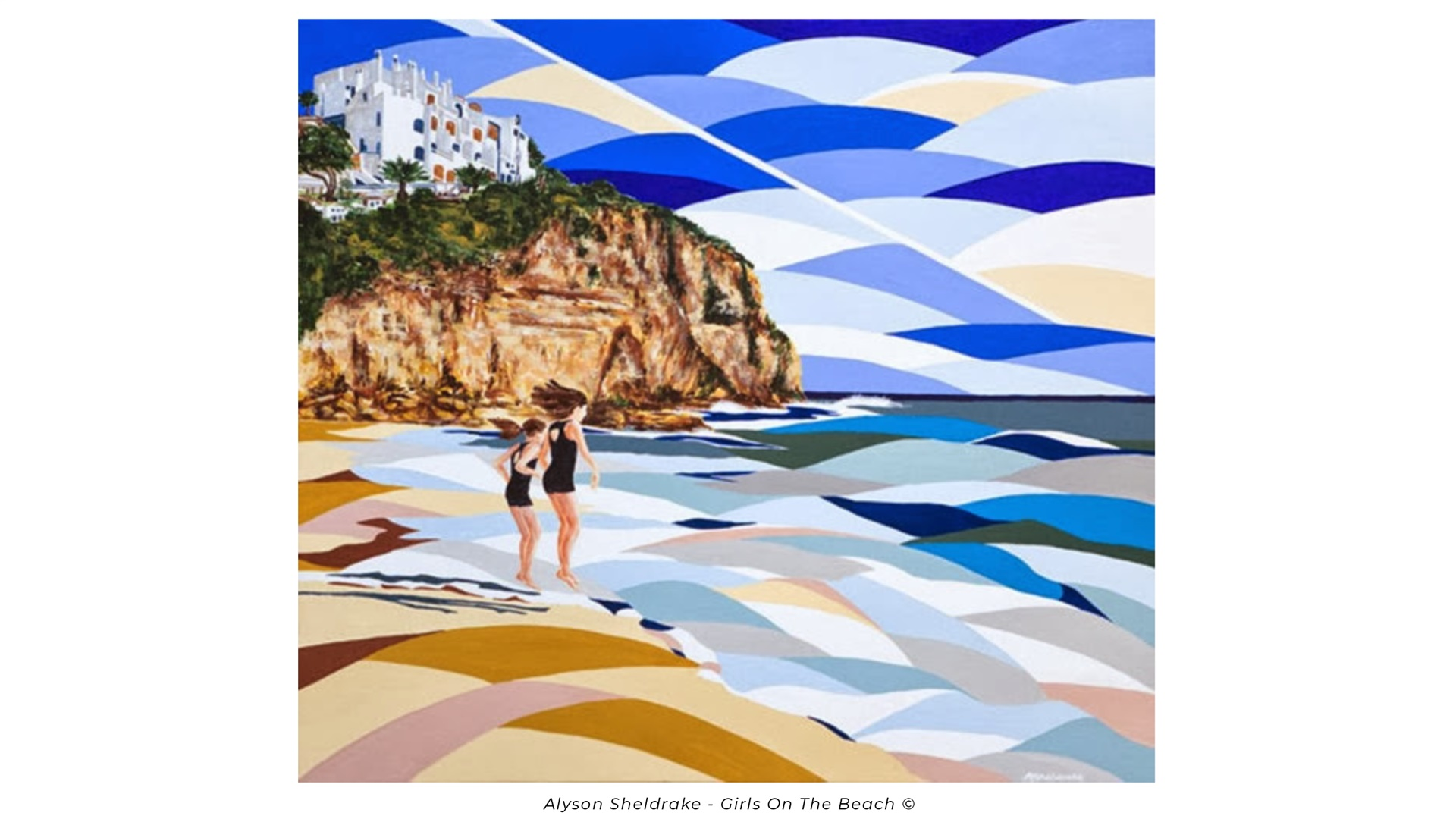 girls on the beach by alyson sheldrake